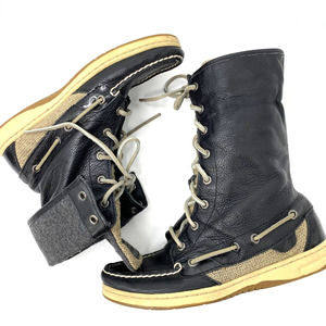 Sperry Top-Sider Black Leather High Top Deck Boots